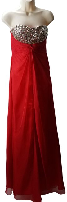 Preload https://item3.tradesy.com/images/red-rhinestone-embellished-ruched-gown-front-slit-medium-long-formal-dress-size-10-m-23335717-0-1.jpg?width=400&height=650
