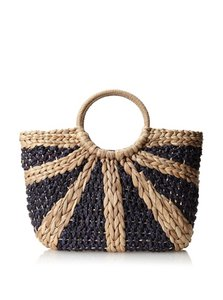 Straw Studios Navy/Natural Beach Bag