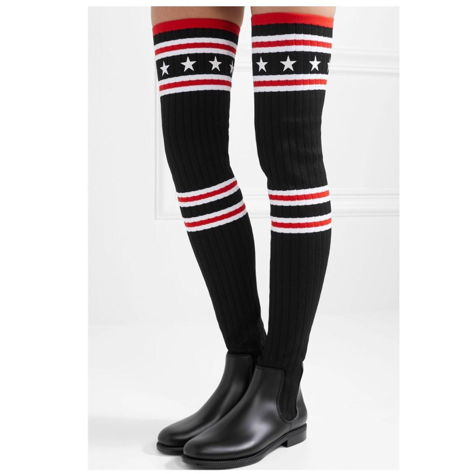 9ece16ca615 Givenchy Storm Ribbed Knit Over Knee Sock Rubber Boots Booties Size ...