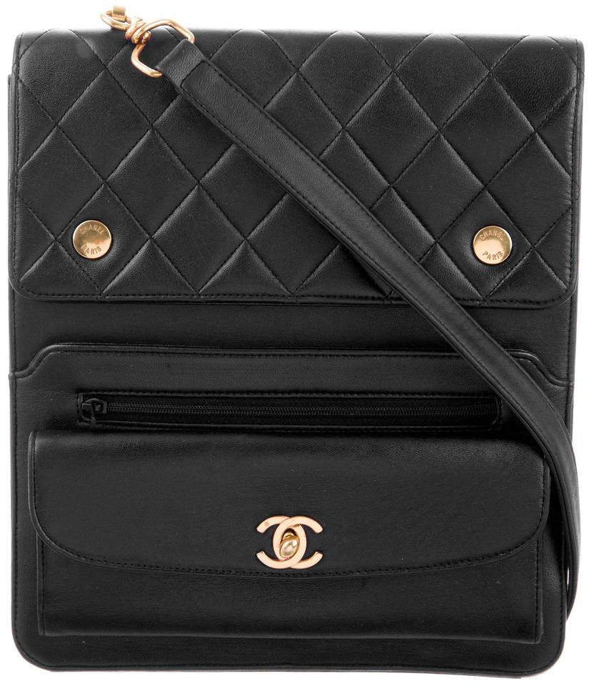 1b321a2517ac Chanel Messenger Camera Vintage Cc Logo Quilted Classic Jumbo Flap Vertical Black  Lambskin Leather Shoulder Bag