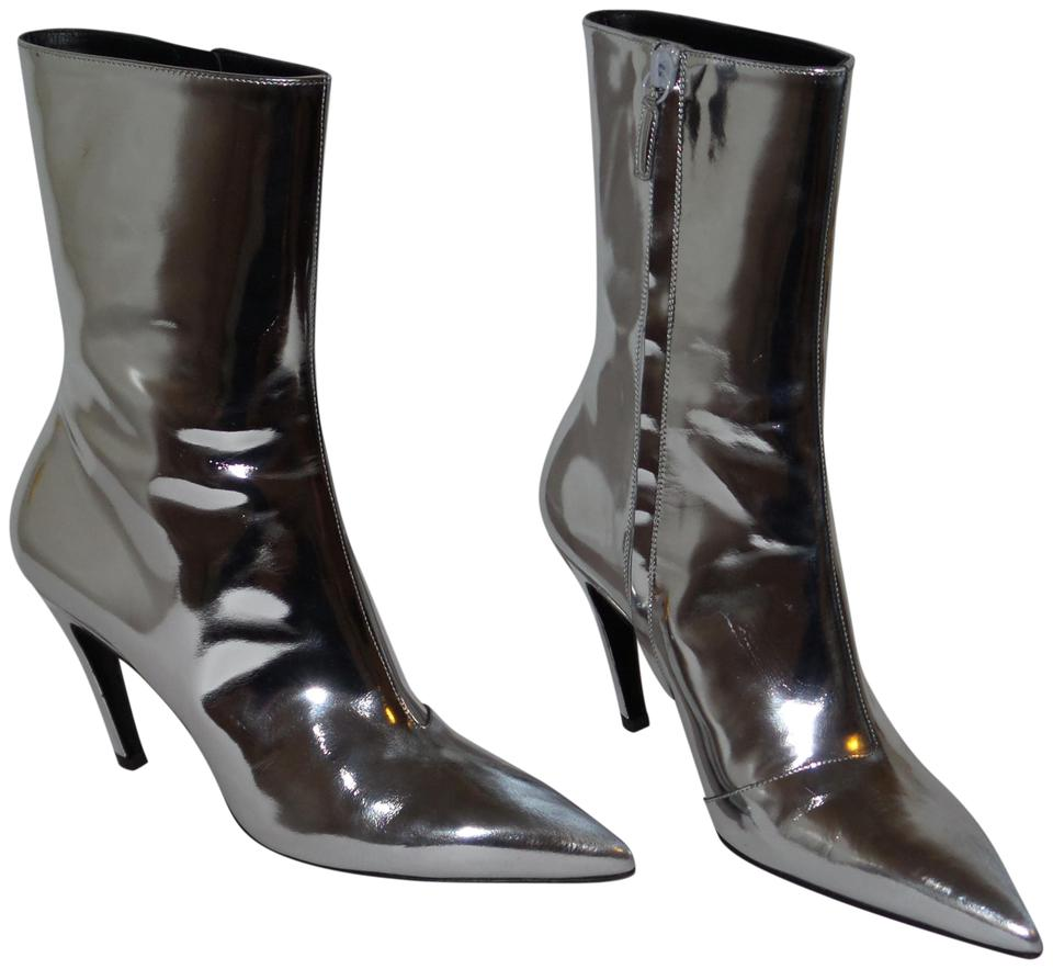 7eb311c8130 Balenciaga Silver Slash Heel Mirror Effect Leather Ankle Boots/Booties Size  EU 38.5 (Approx. US 8.5) Regular (M, B) 53% off retail
