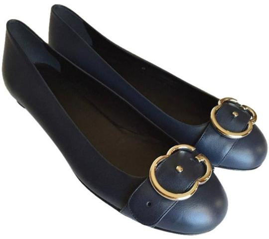 Gucci navy, silver hardware Flats