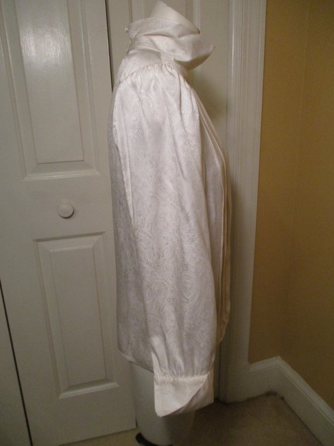 Brooks Brothers Silk Vintage Damask French Cuff Top ivory