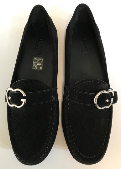 Gucci black, Silver Buckle Flats