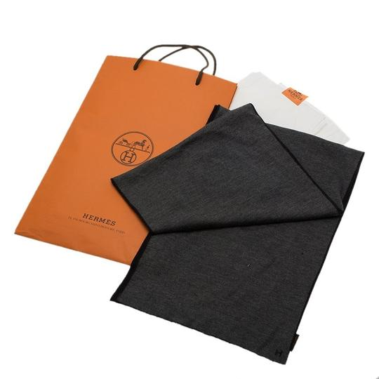 Hermès Black and Grey Cashmere and Silk Stole