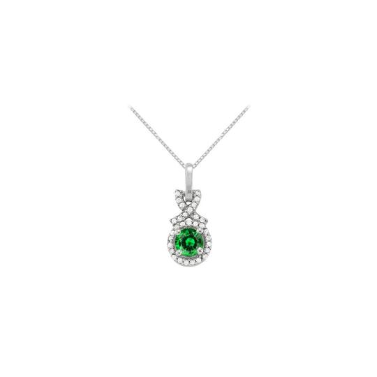 Preload https://item5.tradesy.com/images/green-silver-may-birthstone-emerald-with-cz-halo-pendant-in-sterling-necklace-23336149-0-0.jpg?width=440&height=440
