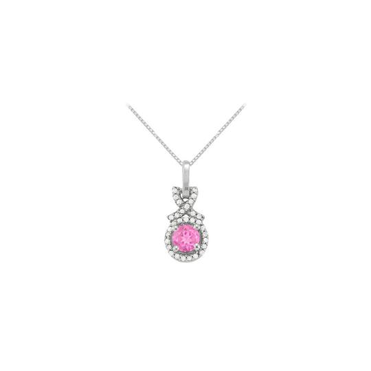 Preload https://item4.tradesy.com/images/pink-silver-september-birthstone-created-sapphire-with-cz-halo-pendant-in-ste-necklace-23336158-0-0.jpg?width=440&height=440