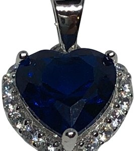 "Sterling Silver Heart Shaped Blue Sapphire CZ Necklace With 16"" Curb Chain , 1.2mm CIL"