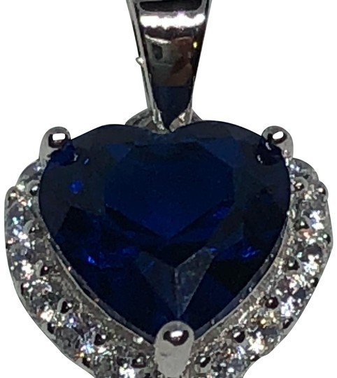 Sterling Silver Heart Shaped Blue Sapphire CZ Necklace With 16