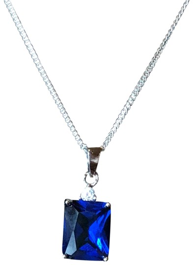 Silver Rectangular Blue Sapphire CZ Necklace With Sterling Silver Curb Chain ,1.2mm CIL