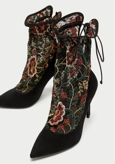 Zara Floral Embellished Drawstring Bootie Boot black Pumps