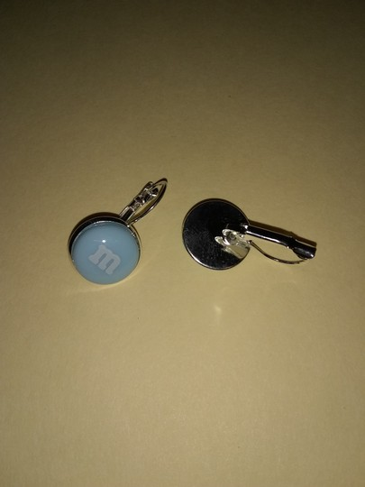 Unbranded Silver Alloy and Light Blue M&M Dangle or Drop Eearrings