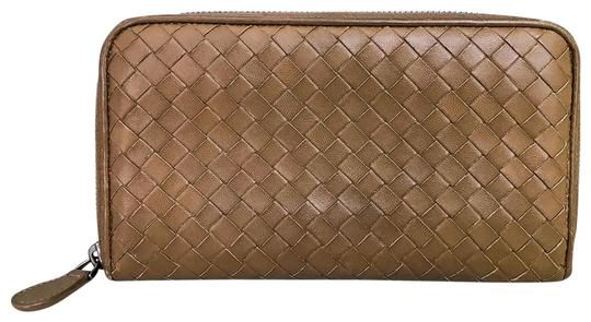 Bottega Veneta Bottega Veneta Brown Intrecciato Leather Zip Around Wallet