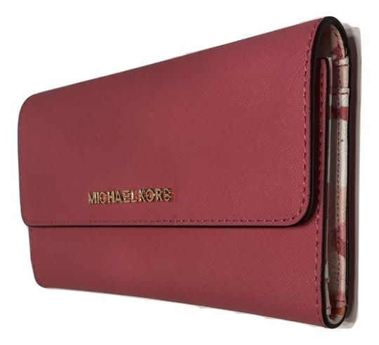 Michael Kors Trifold Wallet Pink/Floral Jet Set Travel Wristlet in Light Electric Pink/Floral