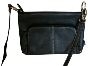 Tignanello Leather Signature Lining Embossed Zipper Pull Cross Body Bag