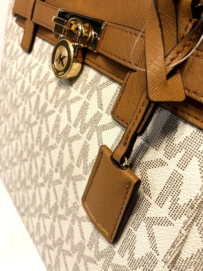 Michael Kors Purse Set Matching Set Gift Satchel in Signature MK Vanilla/Acorn