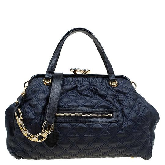 Preload https://item2.tradesy.com/images/marc-jacobs-dark-quilted-blue-satin-leather-satchel-23336426-0-0.jpg?width=440&height=440