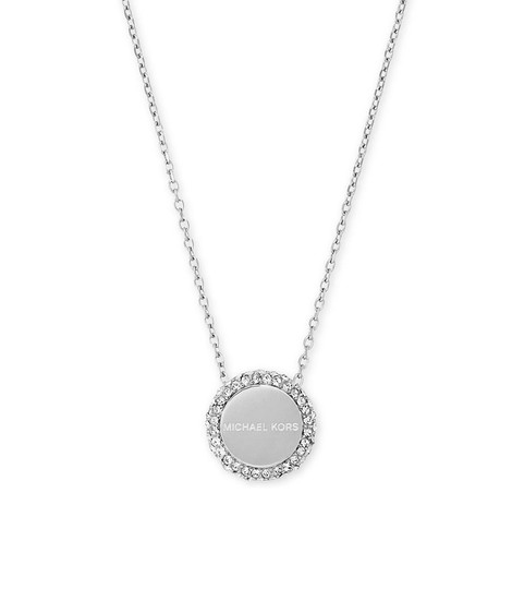 Preload https://item4.tradesy.com/images/michael-kors-silver-tone-logo-pave-disc-circle-pendant-necklace-23336438-0-0.jpg?width=440&height=440