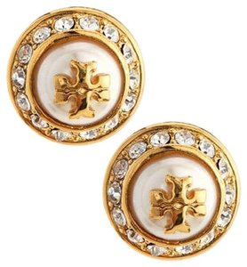 Tory Burch TORY BURCH PEARL ROUND RHINESTONE STUD EARRINGS NWT NEW TAGS