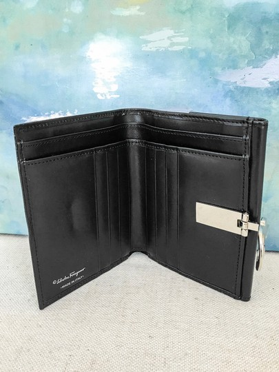 Salvatore Ferragamo SALVATORE FERRAGAMO Black Leather Icon Gancini Wallet