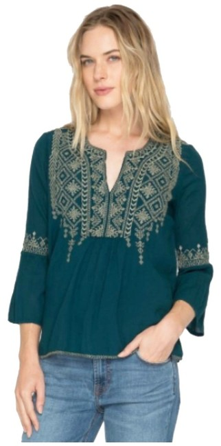 Johnny Was Statement Sleeve Slightly Cropped Embroidered Cotton Voile Side Slits / V Neck Top Blue