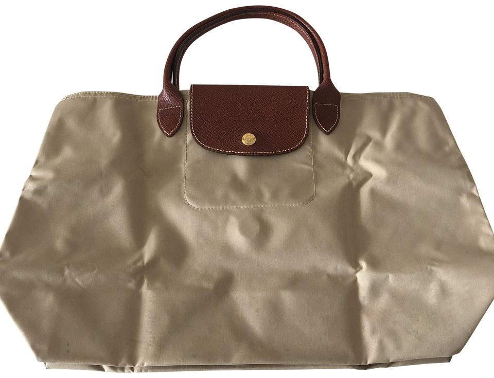 d573a1b48939 Longchamp Le Pliage Cabas Modele Depose Beige Canvas Leather Tote ...