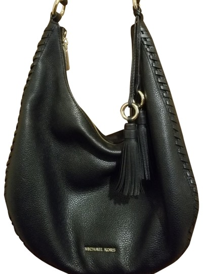 Preload https://item4.tradesy.com/images/michael-kors-gold-black-leather-hobo-bag-23336518-0-3.jpg?width=440&height=440