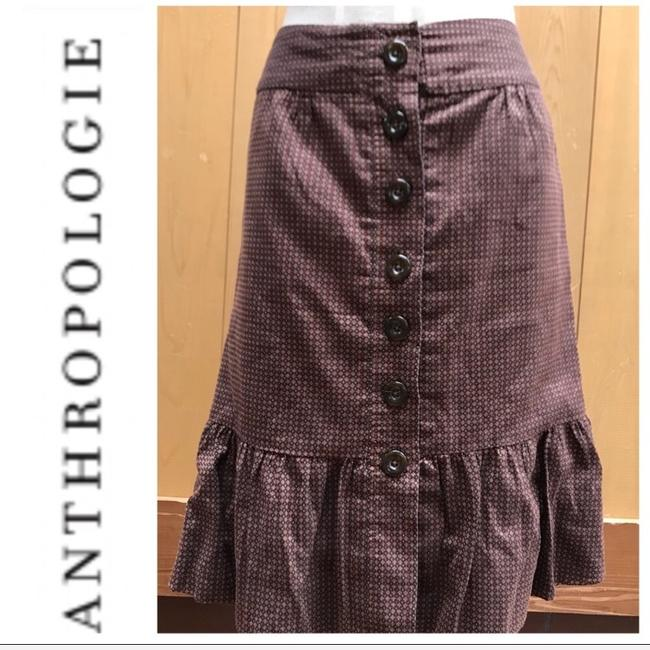 Anthropologie Skirt brown with orange dots