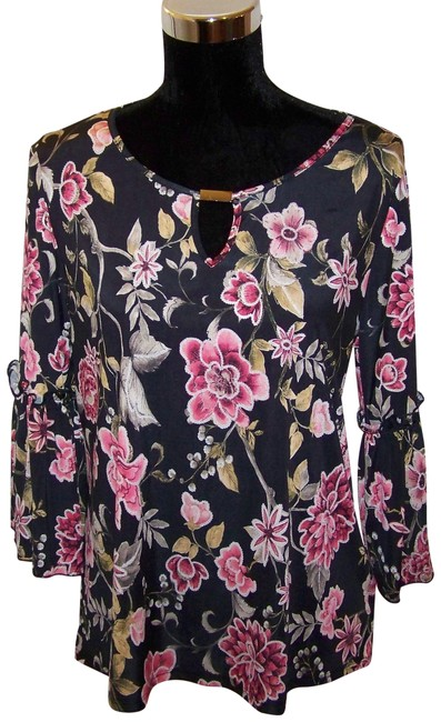 Preload https://item3.tradesy.com/images/black-wfloral-print-and-gold-accents-wgold-blouse-size-10-m-23336617-0-2.jpg?width=400&height=650