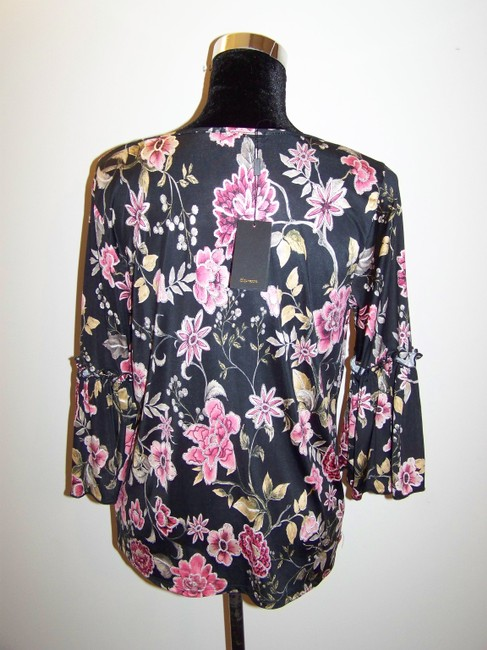 Espresso Hardware Top Black w/Floral Print and Gold Accents Image 1