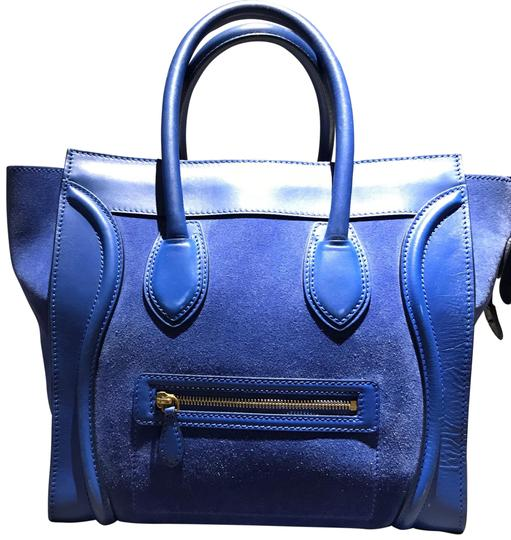 Preload https://item2.tradesy.com/images/celine-luggage-mini-blue-suede-leather-and-leather-satchel-23336621-0-1.jpg?width=440&height=440
