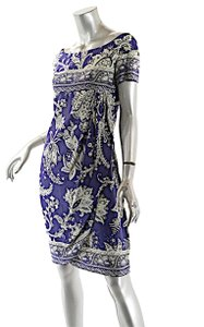 Valentino short dress Blue Indigo Silk Empire Waist Wrap on Tradesy