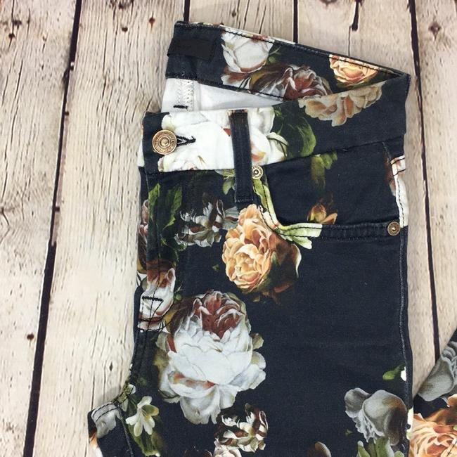 7 For All Mankind Floral Denim Date Night Night Out Skinny Jeans-Dark Rinse