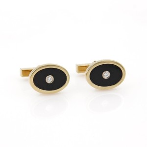 Tiffany & Co. Diamond Onyx Oval Shape 18k Yellow Gold Stud Cufflinks