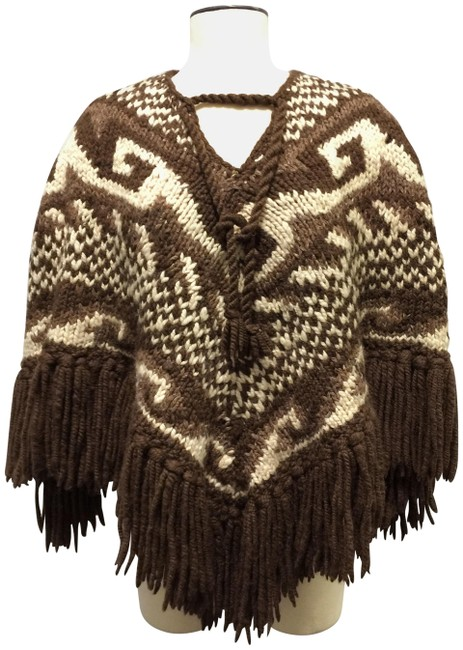 Preload https://img-static.tradesy.com/item/23336665/dolce-and-gabbana-chocolate-brown-mocha-ivory-wool-hand-knit-new-ponchocape-size-4-s-0-1-650-650.jpg