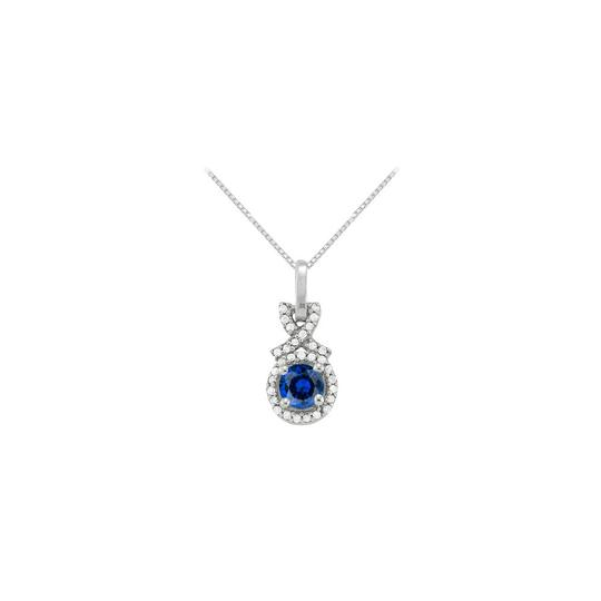 Preload https://img-static.tradesy.com/item/23336692/blue-silver-september-birthstone-sapphire-with-cz-halo-pendant-in-sterling-necklace-0-0-540-540.jpg