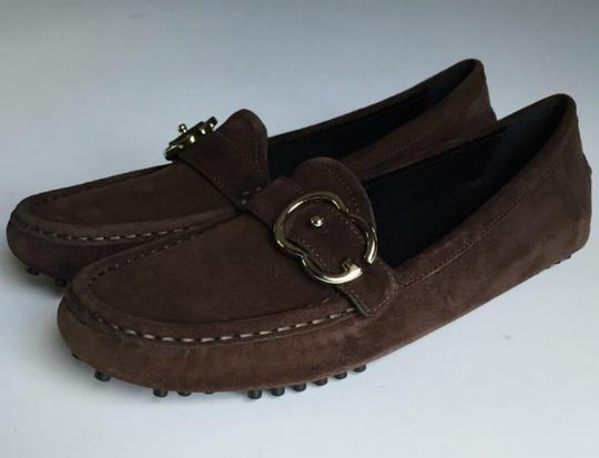 Gucci Brown, Silver Buckle Flats