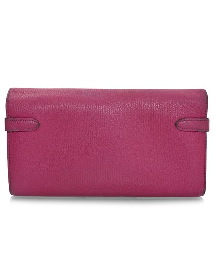 Hermès Hermes Rose Tyrien Chevre Mysore Leather Kelly Longue Wallet