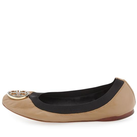 Tory Burch Tb Logo Leather Ballet Sand/Black Flats