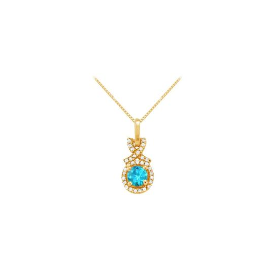 Marco B December Birthstone Blue Topaz with CZ Halo Pendant Gold Vermeil
