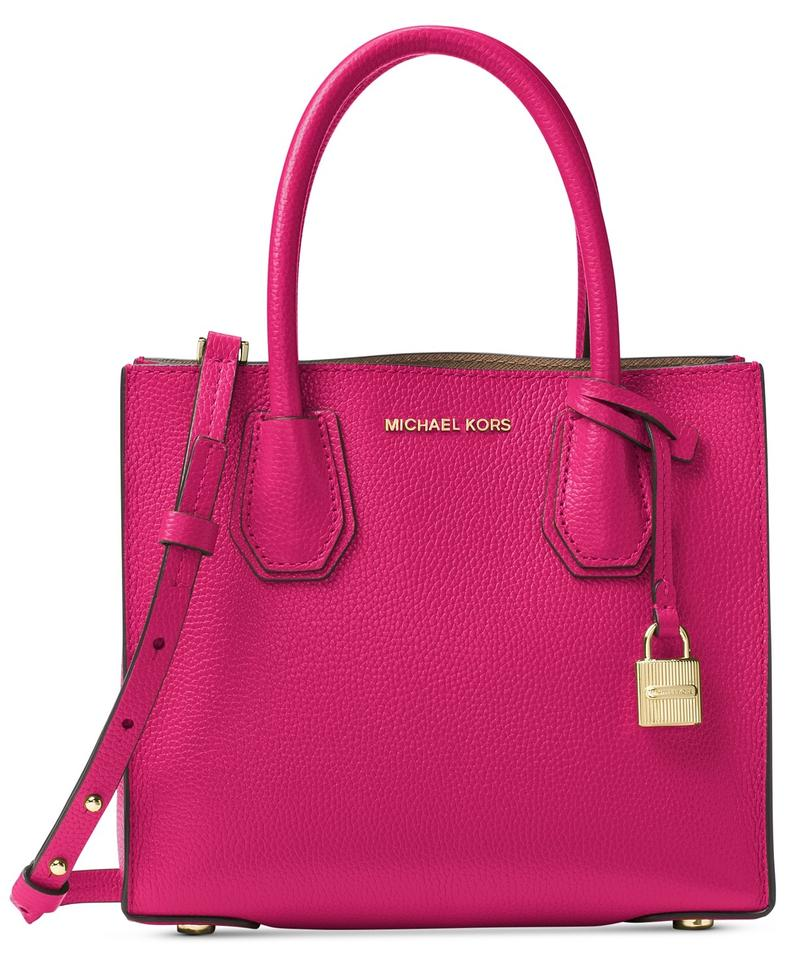 bf9e13394df374 Michael Kors Mercer Medium Tote Pink Leather Cross Body Bag - Tradesy