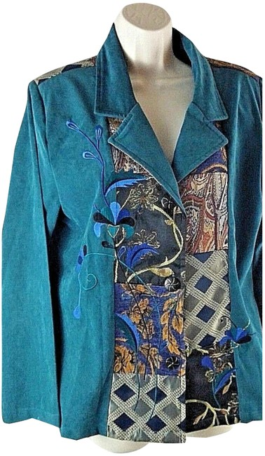 Preload https://item5.tradesy.com/images/indigo-moon-patchwork-blues-green-embroidered-floral-blazer-size-12-l-23336874-0-2.jpg?width=400&height=650