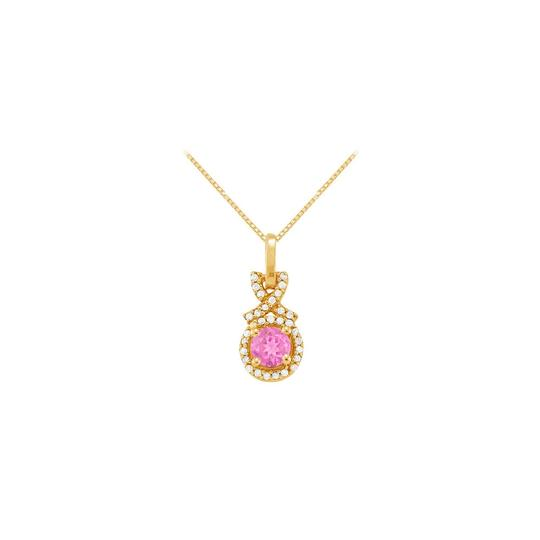 Marco B September Birthstone Created Pink Sapphire with CZ Halo Pendant Gold V