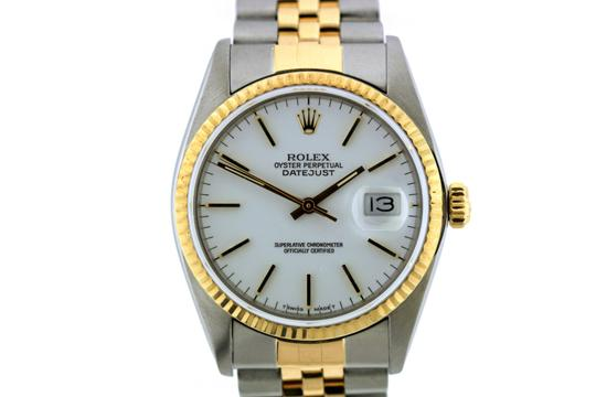 ROLEX 36MM ROLEX DATEJUST GOLD S/S WATCH WITH BOX & APPRAISAL Image 1
