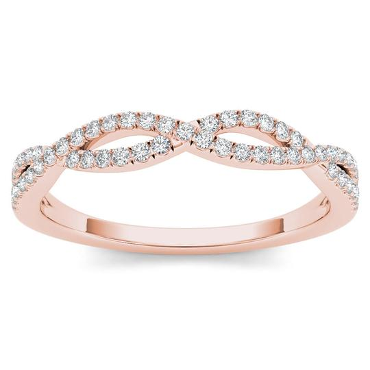 Elizabeth Jewelry 10Kt Rose Gold Diamond Criss Cross Ring