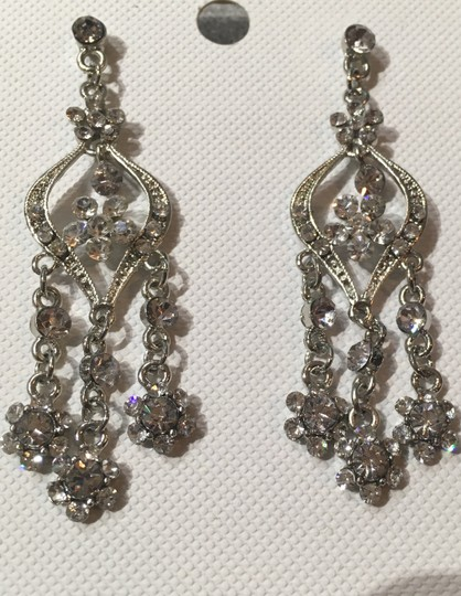 Clear Dangling Rhinestone Pierced Earrings
