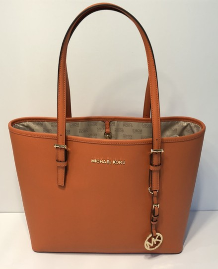 Michael Kors Jet Set Traveler Md Carryall Satchel in Tangerine