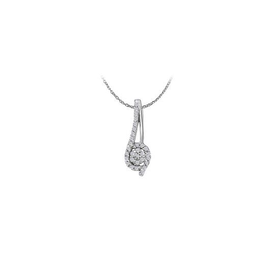 Marco B 0.10 CT Cubic Zirconia Rope Pendant in 14K White Gold
