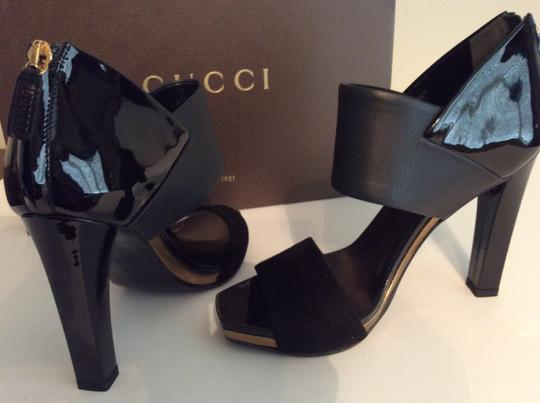 Gucci Lamb Leather Patent Heel Zipper In Heel Gold Trim Suede Toe Black Sandals