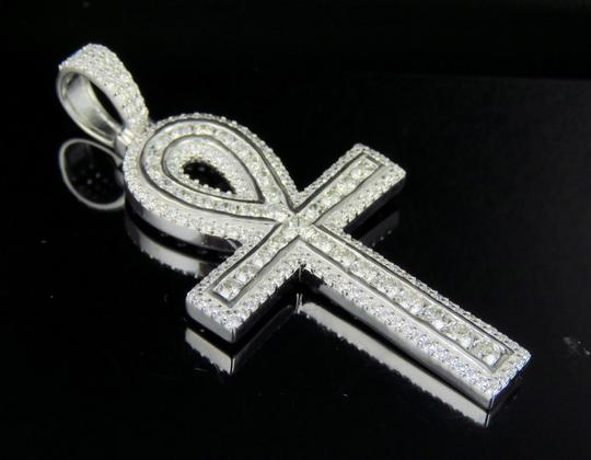Jewelry Unlimited 10K White Gold Real Diamond Ankh Cross Pendant 3 CT 2.1
